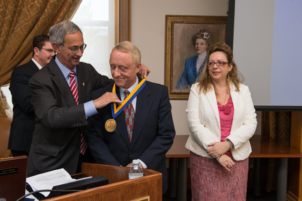 The Dean receiving the Eastman medal.