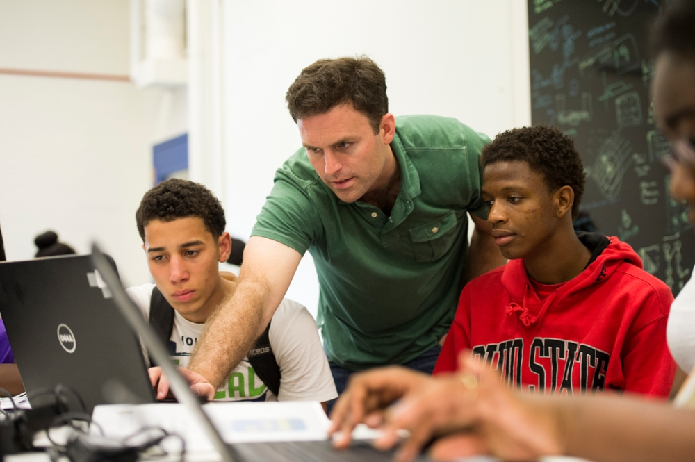 Thomas Howard, assistant professor of electrical and computer engineering, is among Hajim School faculty members who have mentored Rochester City School District students as part of the Upward Bound program.